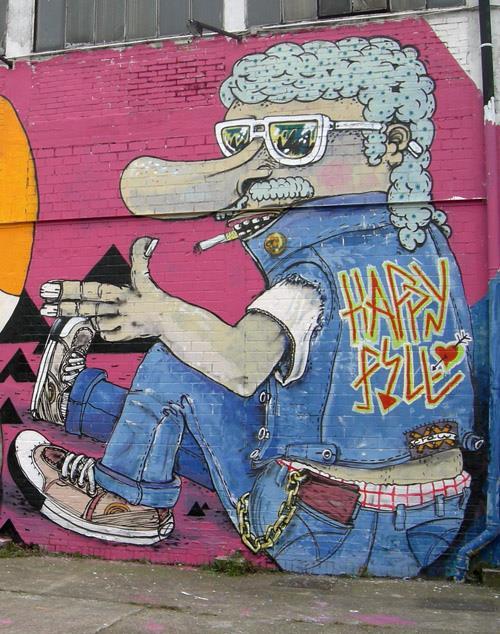 happypill graffiti streetart neben wurstbande osnabrück meanmarek