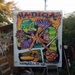 Graffiti Münster Sozialpalast hadiqa happypill xxcrew auftrag wohnwagen