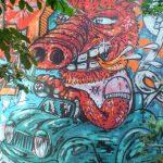 Schwein Auto Graffiti Character Wand Comic